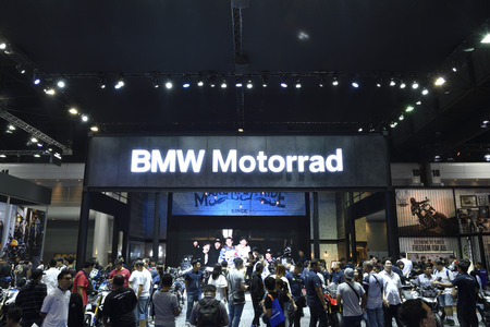 Nonthaburi,THAILAND - April 6, 2018: Crowd in front of BMW booth exhibition at THE 39th BANGKOK INTERNATIONAL MOTOR SHOW 2018.