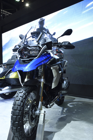 Nonthaburi,THAILAND - April 6, 2018: The BMW R 1200 GS model goes one better: both in terms of touring suitability and off-road performance showed at BANGKOK INTERNATIONAL MOTOR SHOW 2018.