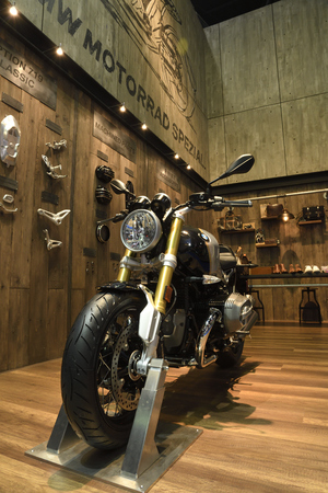 Nonthaburi,THAILAND - April 6, 2018: The BMW R nineT Scrambler, Heritage motorbike harks back to the legendary scrambler of the Original BMW Motorrad showed at BANGKOK INTERNATIONAL MOTOR SHOW 2018. Sajtókép