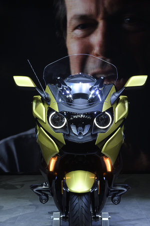 Nonthaburi,THAILAND - April 6, 2018: The BMW K 1600 B is the motorcycle for your journey. In concept : Take a Relax cruise anytime. It showed at BANGKOK INTERNATIONAL MOTOR SHOW 2018.