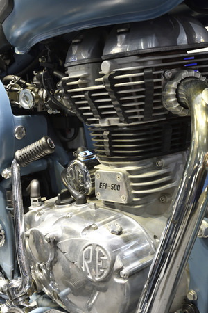 Nonthaburi,THAILAND - April 6, 2018 : Close-up a potent fuel injected 500cc engine of Royal Enfield Classic 500. Showed at BANGKOK INTERNATIONAL MOTOR SHOW 2018. Sajtókép