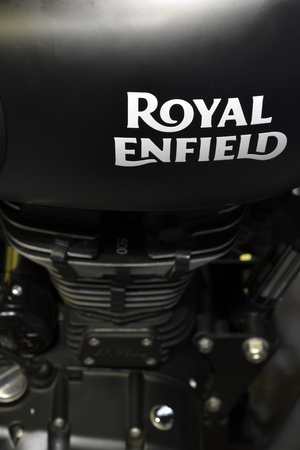 Nonthaburi,THAILAND - April 6, 2018 : Close-up a crafted tank and 500cc engine of Royal Enfield Classic 500 make for a vintage look. Showed at BANGKOK INTERNATIONAL MOTOR SHOW 2018. Redakční