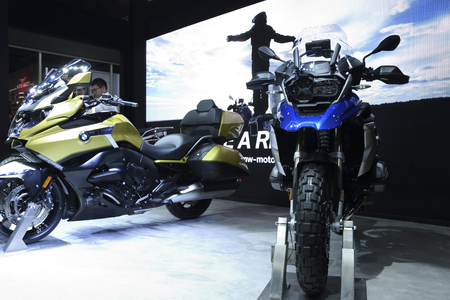 Nonthaburi,THAILAND - April 6, 2018: The BMW R 1200 GS, adventure model for off-road performance and the BMW K 1600 B, Cruiser model for your journey showed at BANGKOK INTERNATIONAL MOTOR SHOW 2018. Sajtókép