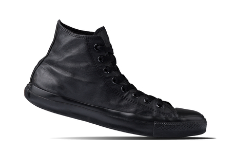 Concept Step walking. Single Black ankle sneaker, men classic fashion lifestyle footwear, Isolate on white background