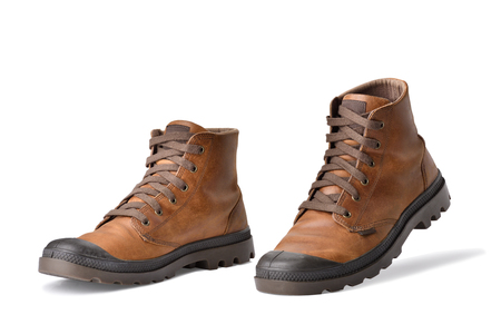 Concept Step walking - Brown leather boot vintage action step walk and feeling go. Horizontal color image.