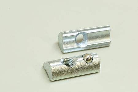 Lock Nut for Aluminum Profiles use with aluminum building kit. Assembly with aluminum profiles T-Nut slot. Have ball spring to locking.