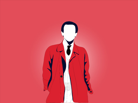 A simple basic illustrated adult man with a red coat, black tie, and white shirt. Vector illustration of an isolated faceless man. Easy edits layered vector EPS10