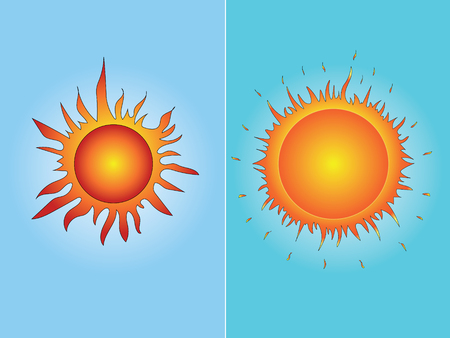 Two colored isolated summer suns on the light blue background.