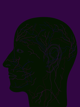 The doodle illustration of a mans head black silhouette bright background