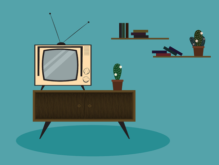 The illustration of color retro room with isolated elements. Vintage television, bookshelves, cupboard, and cactus plants. Иллюстрация