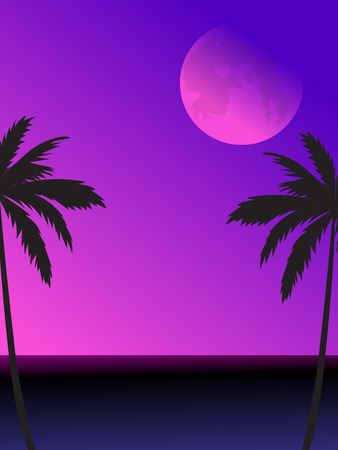 The illustration of a night scene with a full moon, sea, and palm tree