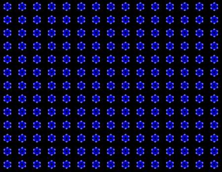 Endless pattern black background with a different kind of blue color flower