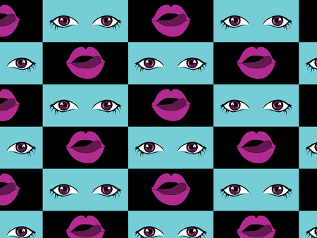 Contemporary art pattern collage with lips, tongue, and eyes in bright colors Vettoriali