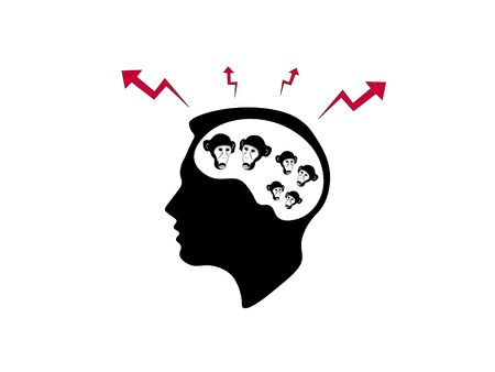 The black and white illustration of chattering monkeys in the human mind with the signs above