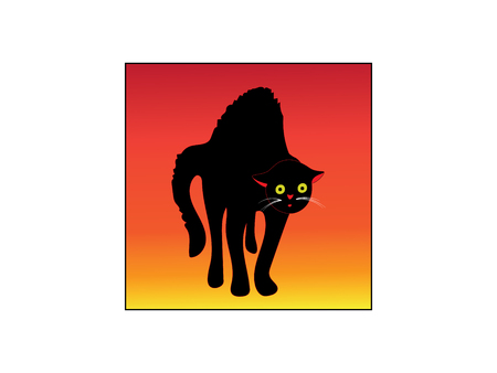 The logo icon of a frightened black cat