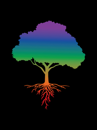 Colorful isolated tree with roots on a black background Illustration