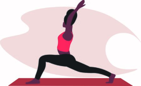 woman stretches the entire front of the torso, the ankles, back muscles in yoga warrior pose Asana Virabhadrasana. trendy top illustration