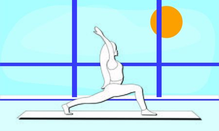 woman stretches the entire front of the torso, the ankles, back muscles in yoga warrior pose Asana Virabhadrasana. trendy top illustration in the gym. Outside the window blue sky bright sunny day 스톡 콘텐츠 - 133506433