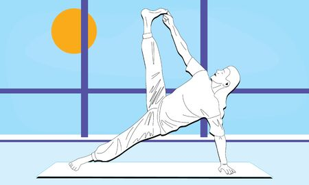 young man stretches the entire body doing Vasisthasana, Side Plank Pose in the studio room with window. Outside the window blue sky bright sunny day