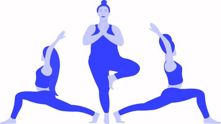 One woman is stretches her shoulders and back standing on one leg in Tree Pose Vrksasana Asana, two girls stretches in yoga warrior pose Virabhadrasana Asana Illusztráció