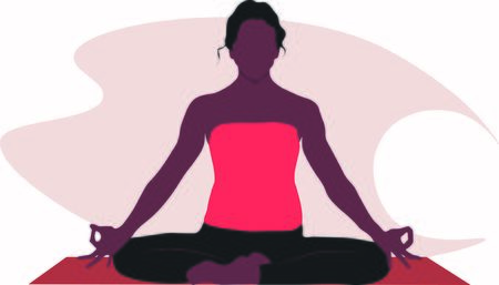 A woman is sitting in a comfortable Asana with raised arms, crossed legs lotus pose and makes Mrigi Mudra. Pranayama exercise trendy top illustration