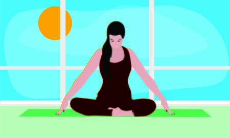 cartoon woman is sitting in a comfortable Asana with raised arms, crossed legs and doing Jalandhara Bandha in the studio room or apartment with window. Outside the window blue sky bright sunny day