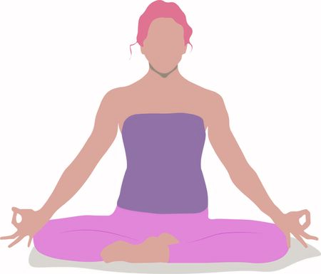 A woman is sitting in a comfortable Asana with raised arms, crossed legs' lotus pose and makes Mrigi Mudra. Pranayama exercise trendy top illustration