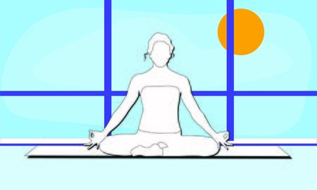 A woman is sitting in a comfortable Asana with raised arms, crossed legs lotus pose and makes Mrigi Mudra. Pranayama exercises trendy top illustration in the gym