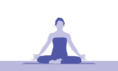 A woman is sitting in a comfortable asana with raised arms, crossed legs and make Mrigi Mudra. Pranayama exercise