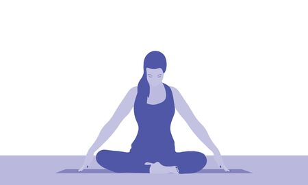 A woman is sitting in a comfortable asana with raised arms, crossed legs and doing Jalandhara Bandha