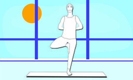 young man stretches his shoulders and back standing on one leg in Tree Pose Vrksasana Asana in the studio room with window. Outside the window blue sky bright sunny day. Relaxation, isolated man Illusztráció