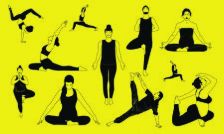 Color collection of eleven people who standing, stretching doing body care trainings and relax, meditation breath concentration and makes pranayama exercise