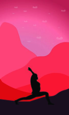Black silhouette of a woman, who standing in Virabhadrasana Asana, and makes pranayama exercise trendy top illustration. Relaxation, meditation exercises isolated woman