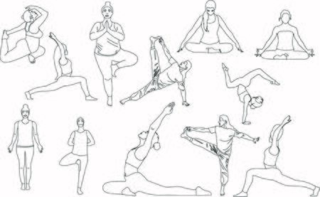 Outline collection of eleven people who standing, stretching doing body care trainings and relax, meditation breath concentration and makes pranayama exercise