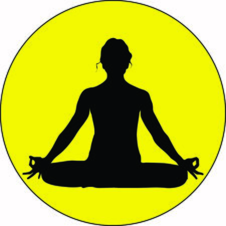 An isolated young woman is sitting in a comfortable Asana with raised arms, crossed legs lotus pose and makes Mrigi Mudra. Pranayama exercise trendy top illustration
