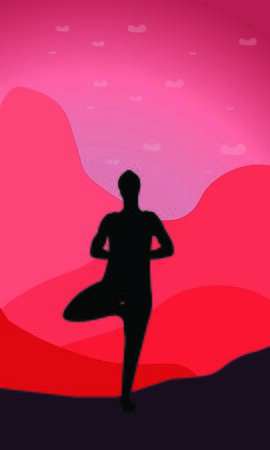 young man yogi or traveler stretches his shoulders and back standing on one leg in Asana Tree Pose Vrksasana in nature. Outside laying bright mountains and wildlife. Isolated color illustration Illusztráció