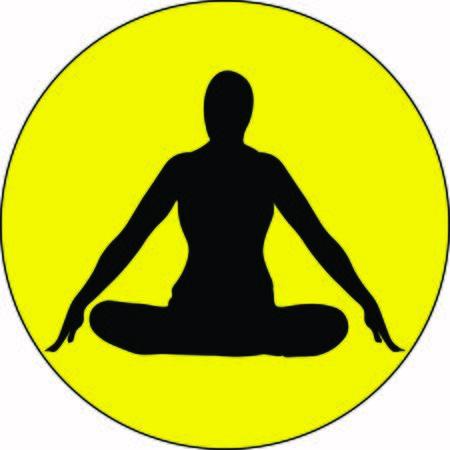 Isolated human doing pranayama breath Jalandhara Bandha exercise sitting with raised arms, crossed legs in lotus pose Relaxation, meditation illustration Illusztráció