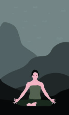 Young woman is sitting with raised arms, crossed legs and make Mrigi Mudra Asana, pranayama exercise in wild. Isolated woman color illustration