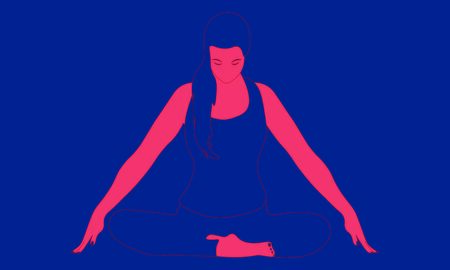 Contour of a woman, who is sitting in a comfortable Asana with raised arms, crossed legs and doing Jalandhara Bandha. Relaxation, isolated woman, color illustration