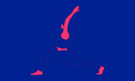 Contour of a woman, who is stretching in Virabhadrasana Asana, and makes pranayama exercise. Trendy top illustration. Relaxation, meditation exercises isolated woman