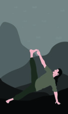 A young man stretches the entire body doing Vasisthasana in nature. Relaxation, isolated man, color illustration