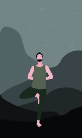 man yogi or traveler stretches his shoulders and back standing on one leg in Vrksasana Asana in nature. Outside bright mountains and wildlife. Relaxation, isolated man