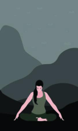 woman yogi or traveler doing Jalandhara Bandha exercise sitting with cross leg in nature. Mountains and wildlife. Isolated woman illustration Illusztráció