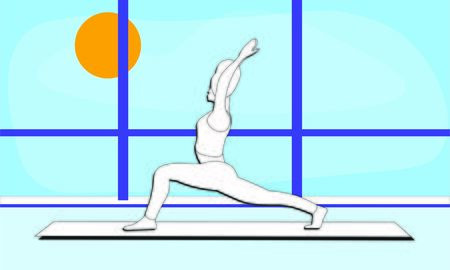 woman stretches the entire front of the torso, the ankles, back muscles in yoga warrior pose Asana Virabhadrasana. trendy top illustration in the gym. Outside the window blue sky bright sunny day