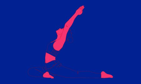 Contour of a woman, who is standing in Pada Radha Kapotasana Asana, and makes pranayama exercise. Relaxation, meditation exercises isolated w
