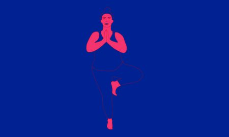 Contour of a woman, who stretches her shoulders and back standing on one leg in Vrksasana Asana. Relaxation, isolated high weight woman color illustration Illusztráció