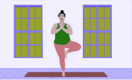 woman stretches her shoulders and back standing on one leg in Asana Vrksasana in the gym or apartment. Health care illustration Illusztráció
