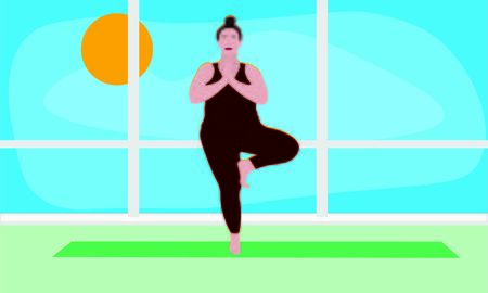 woman stretches her shoulders and back standing on one leg in Asana Vrksasana in the gym. Outside the window blue sky bright sunny day. Relaxation, isolated woman, color illustration Illusztráció