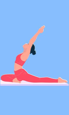 woman stretches her shoulders and back standing in Asana Eka Pada Rajakapotasana, and makes pranayama exercise. Trendy top illustration. Relaxation, meditation exercises isolated woman 일러스트