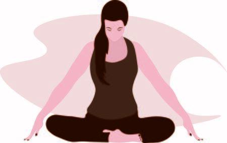 woman doing pranayama breath Jalandhara Bandha exercise sitting with raised arms, crossed legs, lotus pose Relaxation, meditation illustration